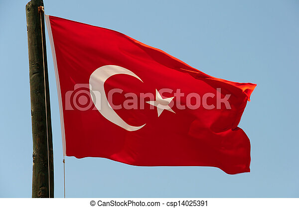 Turkish flag on a background of blue sky - csp14025391