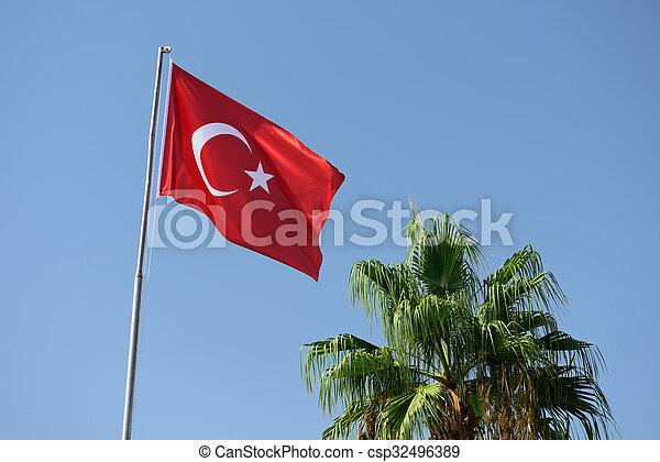 Turkish flag on background of sky - csp32496389
