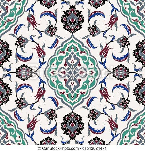Turkish Iznik Tile Design Turkish Iznik Tile Vector And Seamless Best Turkish Pattern