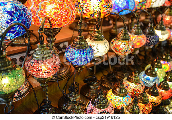 Turkish Lamps For Sale In The Grand Bazaar, Istanbul, Turkey   Csp21916125