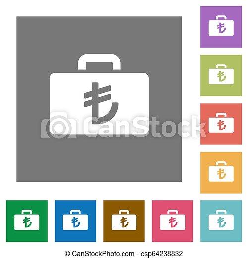 Turkish Lira bag square flat icons - csp64238832