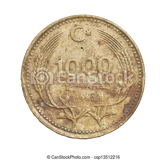 Turkish lira coin on a white background - csp13512216