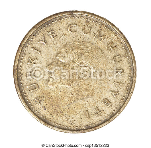 Turkish lira coin on a white background - csp13512223