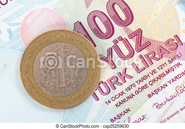 Turkish Lira Coin on Banknote - csp25259630
