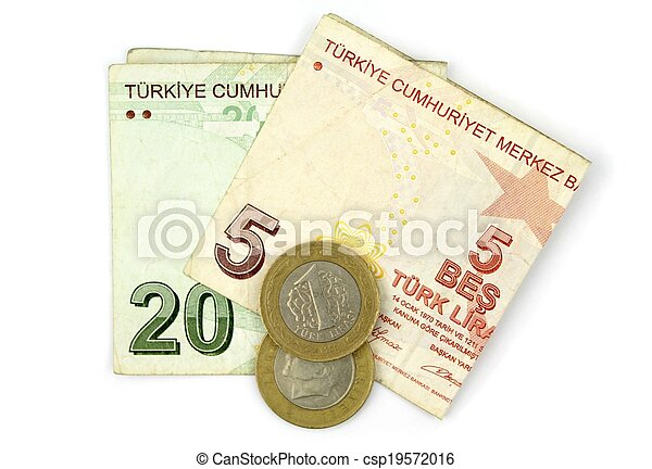 Turkish lira coins and folded notes isolated on white background. - csp19572016