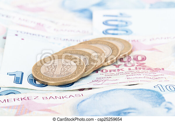 Turkish Lira Coins on Banknotes - csp25259654