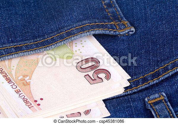 Turkish Lira on Pocket - csp45381086