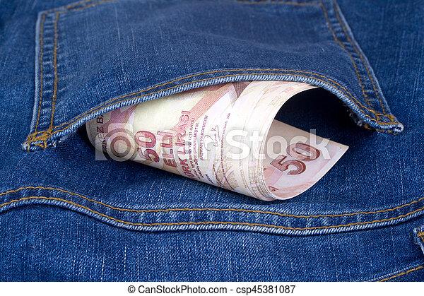 Turkish Lira on Pocket - csp45381087