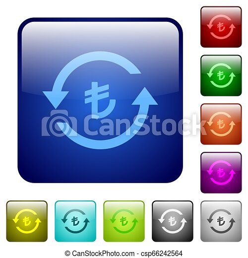 Turkish Lira pay back color square buttons - csp66242564