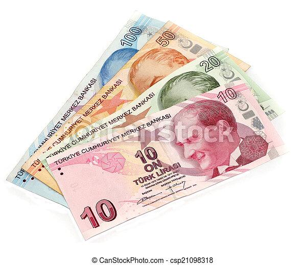 Turkish money on white background - csp21098318