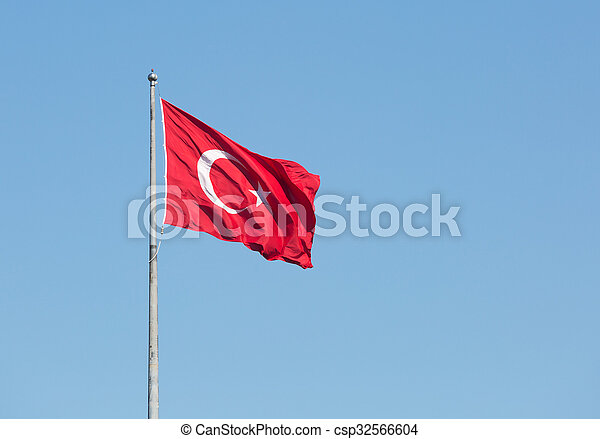 Turkish national flag on a background of blue sky - csp32566604