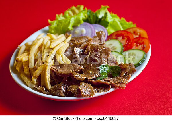 Turkish Plate Kebab Traditional Turkish Doner Kebab Served On White Plate With Potatoes And Vegetable Mix Canstock