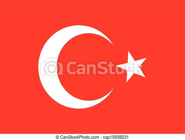 turkish red flag  vector art - csp15938231