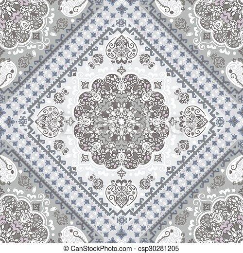 Turkish Rug Style Seamless Pattern
