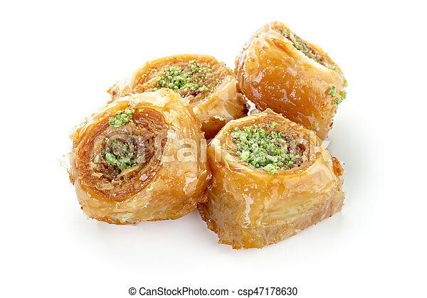 Turkish sweets on a white background - csp47178630