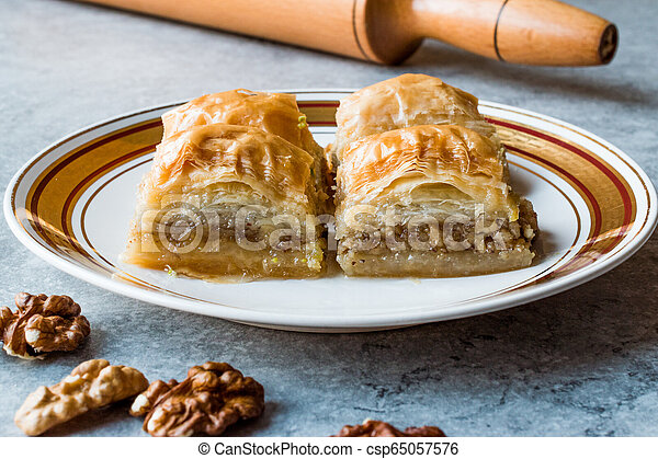 Turkish Traditional Dessert Baklava with Walnuts. - csp65057576