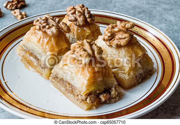 Turkish Traditional Dessert Baklava with Walnuts. - csp65057710