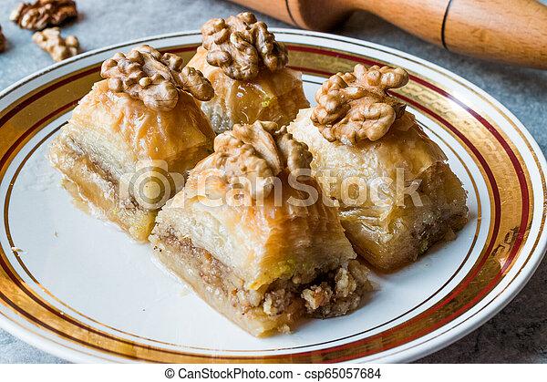 Turkish Traditional Dessert Baklava with Walnuts. - csp65057684