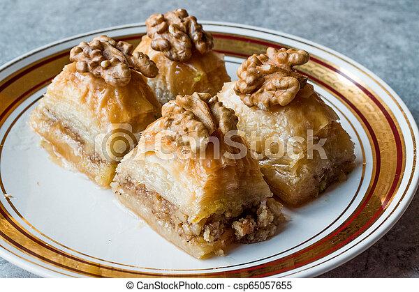 Turkish Traditional Dessert Baklava with Walnuts. - csp65057655