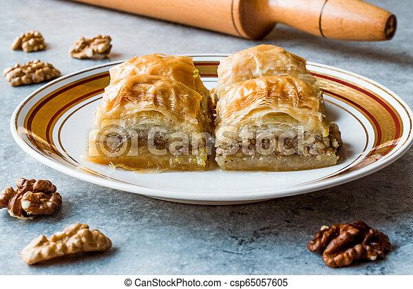 Turkish Traditional Dessert Baklava with Walnuts. - csp65057605