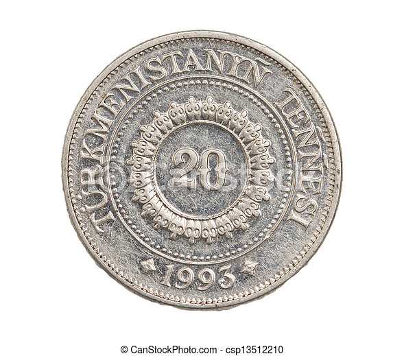 Turkmenistan coin on a white background - csp13512210