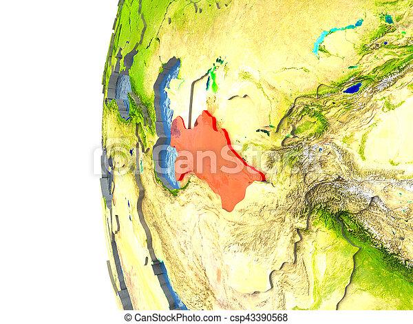 Turkmenistan in red - csp43390568
