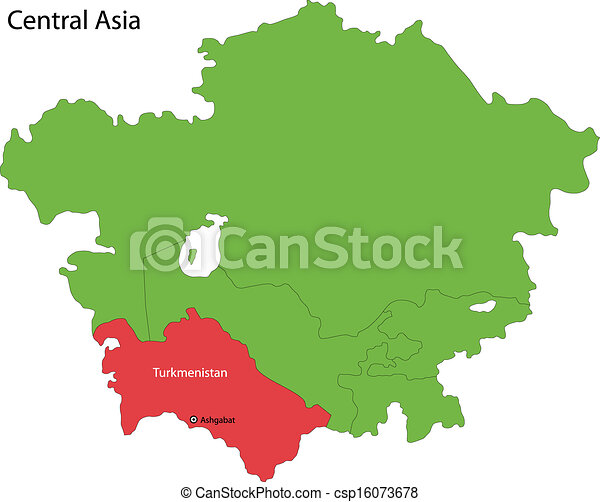 Turkmenistan map Location of turkmenistan on central asia vectors