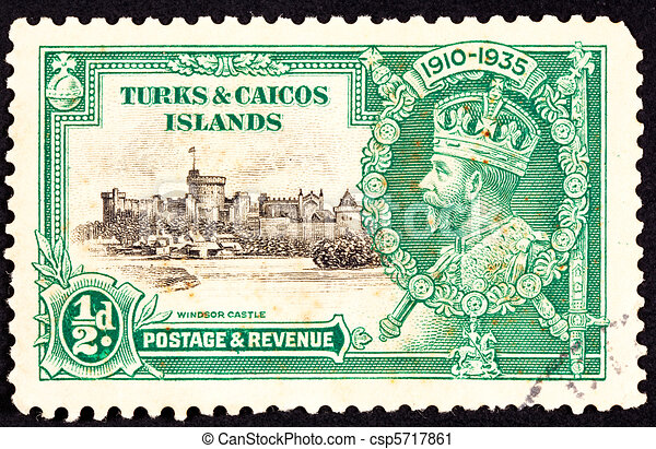 Turks and Caicos Islands in the Caribbean, an English colony, commemorating the Silver Jubilee (25th anniversary) of King George V of England. - csp5717861