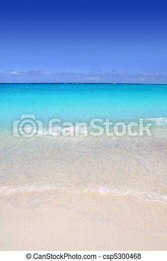 turkus, karaibski, piasek, brzeg, morze, biała plaża - csp5300468