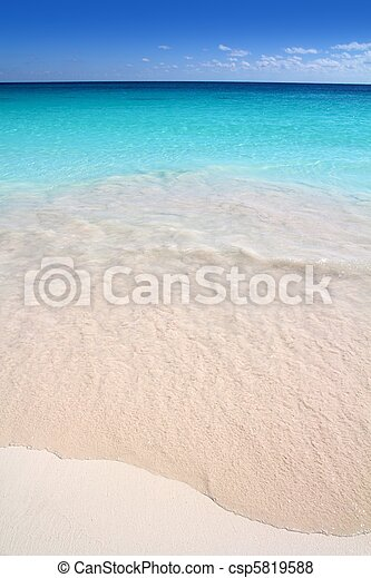 turkus, karaibski, piasek, brzeg, morze, biała plaża - csp5819588