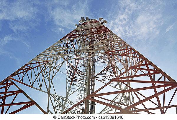 turm, kommunikation, ihr, antennen, weißes, fernmeldeverwaltungen, rotes  - csp13891646