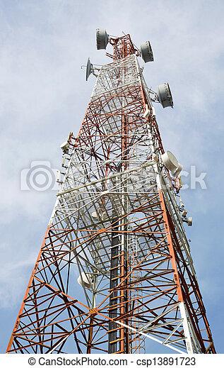 turm, kommunikation, ihr, antennen, weißes, fernmeldeverwaltungen, rotes  - csp13891723
