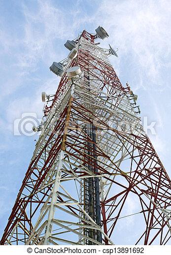 turm, kommunikation, ihr, antennen, weißes, fernmeldeverwaltungen, rotes  - csp13891692