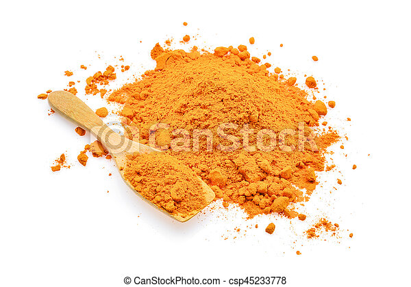 turmeric powder in wooden spoon isolated on white background - csp45233778