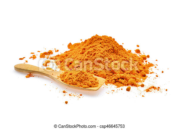 turmeric powder in wooden spoon isolated on white background - csp46645753