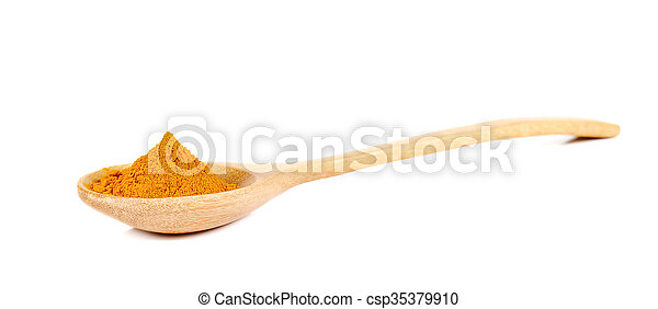 Turmeric powder in wooden spoon on white background. - csp35379910
