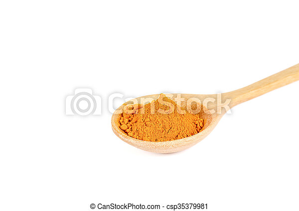 Turmeric powder in wooden spoon on white background. - csp35379981