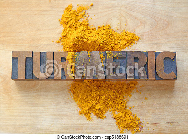 Turmeric word in wood type - csp51886911