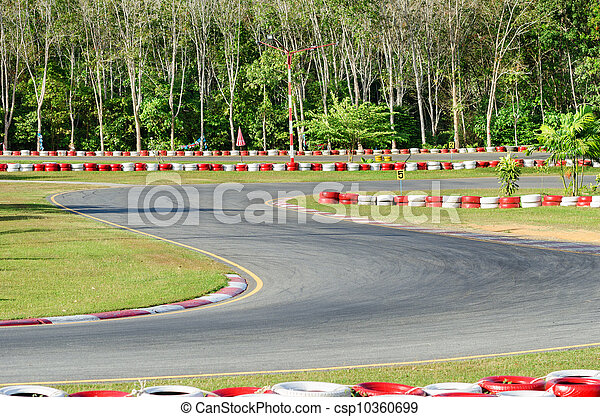 Turn on a empty race car circuit. - csp10360699