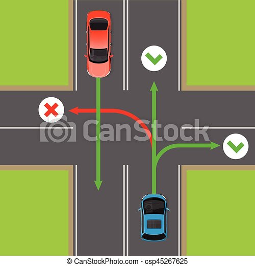 Turn Rules on Four-Way Intersection Vector Diagram - csp45267625