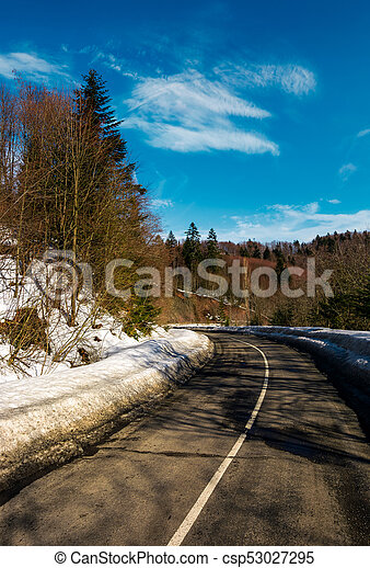 turnaround on the mountain road in winter - csp53027295