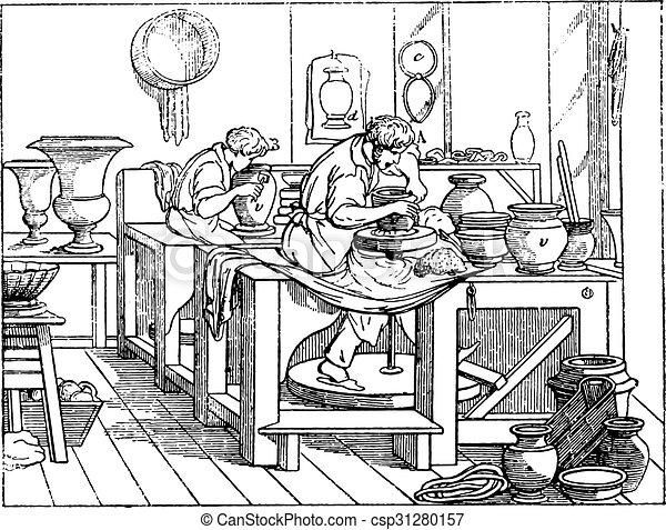 Turner or thrower's shop in porcelain work, vintage engraving. - csp31280157