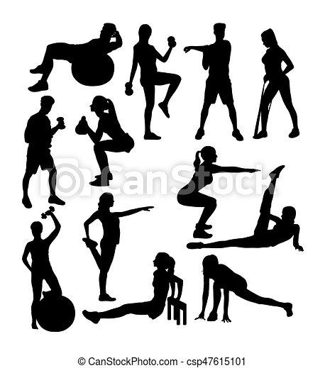 Turnhalle fitness silhouetten aktivit t bungen sport for Gimnasio kine