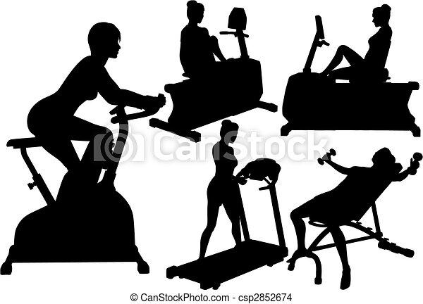 turnhalle, frauen, workouts, übung, fitness - csp2852674