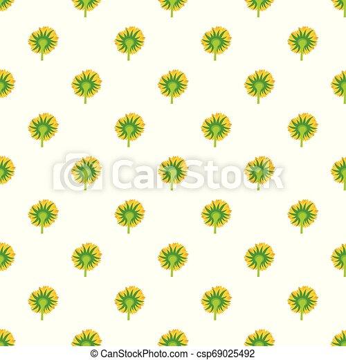Turning sunflower pattern seamless vector - csp69025492