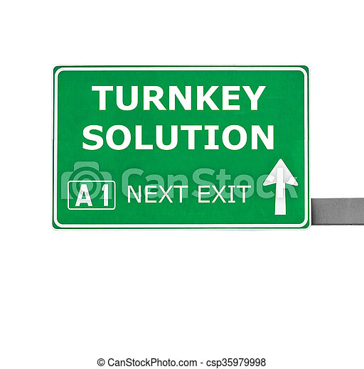 TURNKEY SOLUTION road sign isolated on white - csp35979998
