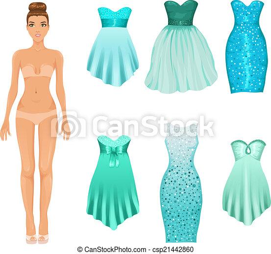Turquesa Muñeca Vestir Para Arriba Prom Vector Coctail