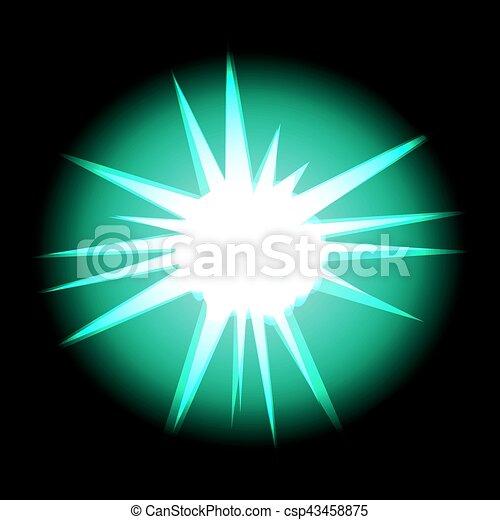 Estrella con rayos turquesa blanca en el cosmos espacial aislado en negro - csp43458875