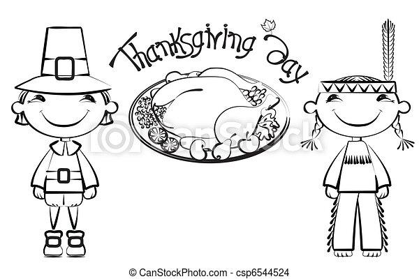 turquie, carte postale, .vector, thanksgiving, fond - csp6544524
