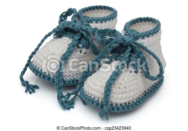 Turquoise and White Hand-made baby booties - csp23423940